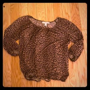 Michael Michael lord brown leopard 3/4 sleeve top